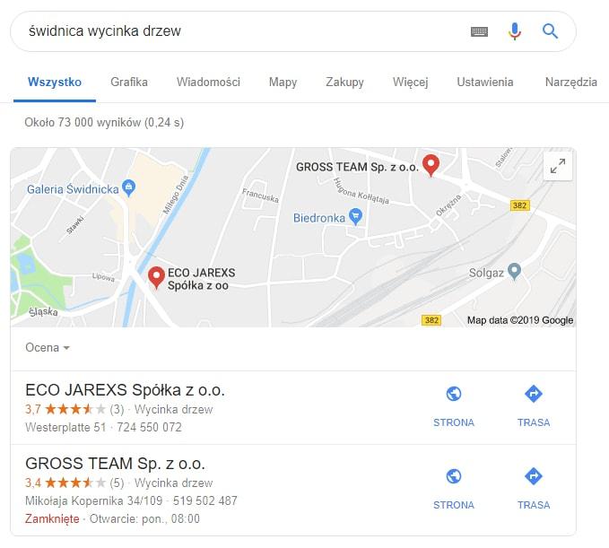 Pozycjonowanie w Mapach Google wizytówki