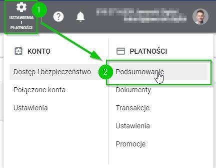 Google Ads - dodaj profil płatności