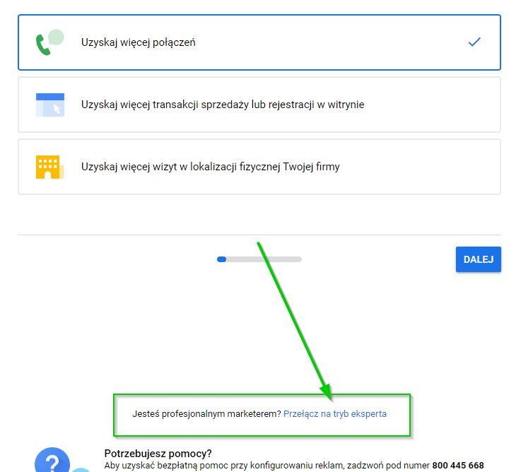 Google Ads - przełącz na tryb eksperta