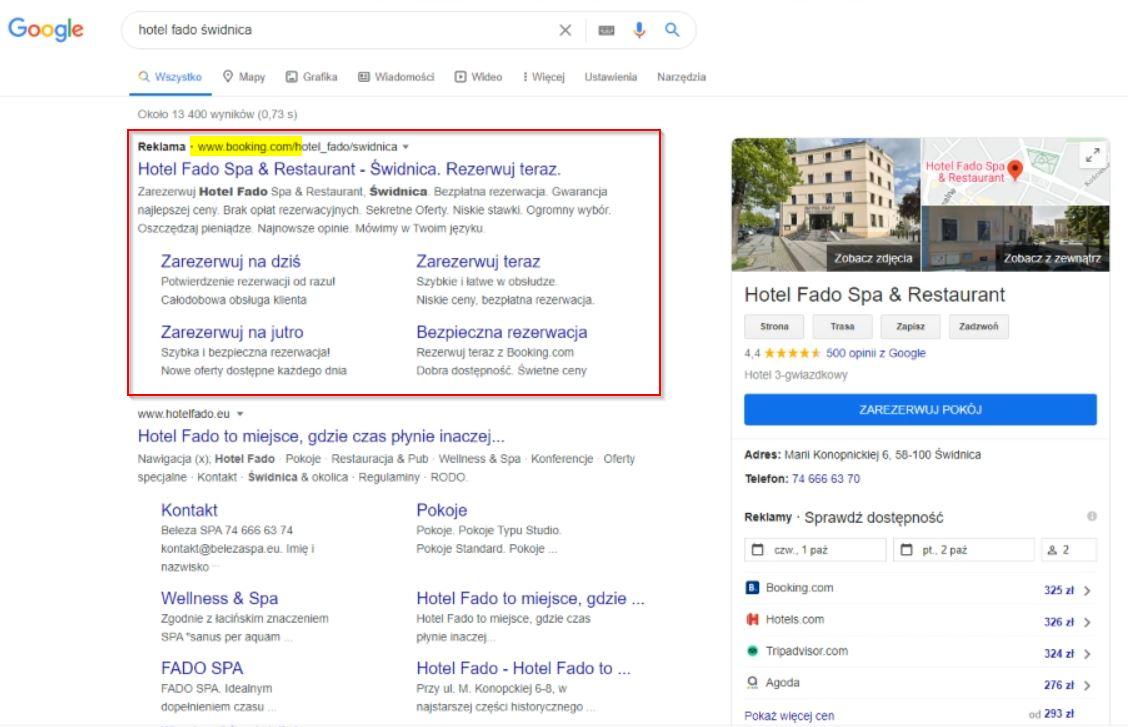 Reklama Adwords - OTA Booking.com
