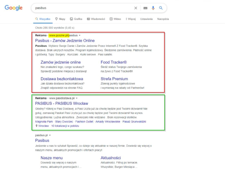 Reklama Google Ads - pośrednik pyszne.pl
